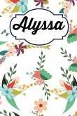 Alyssa: Personalised Alyssa Floral Homework Book Notepad Notebook Composition and Journal Gratitude Diary