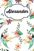 Alexander: Personalised Alexander Floral Homework Book Notepad Notebook Composition and Journal Gratitude Diary