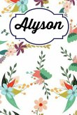 Alyson: Personalised Alyson Floral Homework Book Notepad Notebook Composition and Journal Gratitude Diary
