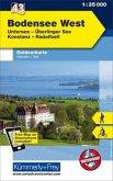 Kümmerly & Frey Outdoorkarte Bodensee West, Untersee, Überlinger See, Konstanz, Radolfszell