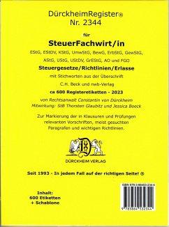 DürckheimRegister® STEUERFACHWIRT/IN Steuegesetze- Richtlinien + Erlasse mit Stichworten (2020)