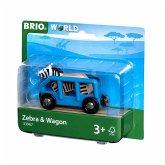 BRIO® 33967 - Tierwaggon Zebra, blau, Eisenbahn