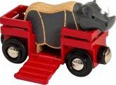 BRIO® 33968 - Tierwaggon Nashorn, rot, Eisenbahn