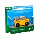 BRIO® 33969 - Tierwaggon Elefant, gelb, Eisenbahn