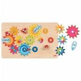 Goki 58782 - Das große Zahnradspiel, Motorikspiel, Strategiespiel, 16 Teile