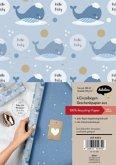 """Geschenkpapier-Set zur Geburt für Baby-Jungen: Motiv """"Wal"""""""