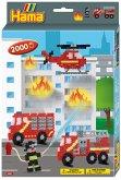 Hama 3441 - Bügelperlen, Geschenkpackung Feuerwehr, 2000 Midi-Perlen und Zubehör