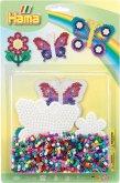 Hama 4207 - Bügelperlen inkl. Stiftplatte, Schmetterlinge & Blume, Midi, 1100 Stück