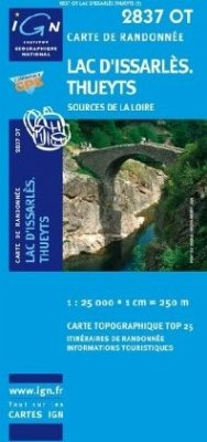 IGN Karte, Serie Bleue Top 25 Lac d'Issarlès.Thueyts.Source de la Loire