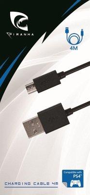 PIRANHA PS4 CHARGING CABLE 4 Meter, Daten- und Ladekabel für PS4-Controller