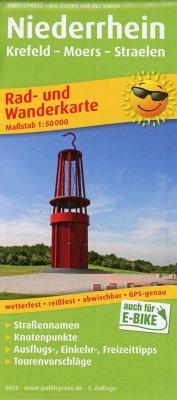 PublicPress Rad- und Wanderkarte Niederrhein, Krefeld - Moers - Straelen