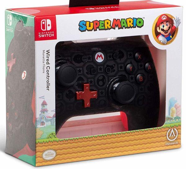 PowerA Wired Controller, Super Mario, Shadow Mario, für Nintendo Switch,  schwarz/rot