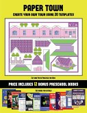 Cut and Paste Practice for Kids (Paper Town - Create Your Own Town Using 20 Templates): 20 full-color kindergarten cut and paste activity sheets desig