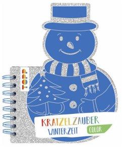 Kratzelzauber Color Winterzeit (Kratzelbuch in Schneemannform) - Frechverlag