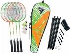 Talbot-Torro 449406 - Badminton-Set 4-Attacker Plus, Kolmplettset mit 4 Schläger, 3 Federbälle, 4 Schläger, Thermobag mit Netz