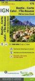 IGN Karte, Tourisme et vélo Bastia. Corte. Calvi. Île Rousse