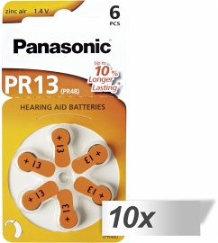 10x1 Panasonic PR 13 Hörgeräte Zellen Zinc Air 6er Rad