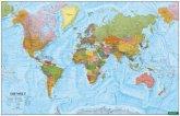 Wandkarte: Die Welt, Poster 1:35.000.000, Metallbestäbt in Rolle