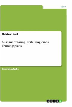 Ausdauertraining. Erstellung eines Trainingsplans - Kuhl, Christoph