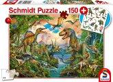 Schmidt 56332 - Wilde Dinos, Puzzle inkl. Tattoos, 150 Teile