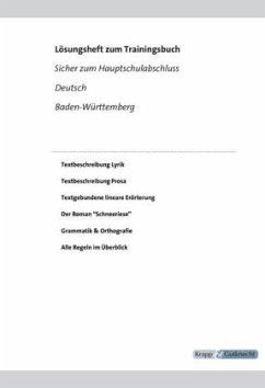 Sicher zum Hauptschulabschluss Deutsch Baden-Württemberg 2019/2021, Lösungen - Krapp, Ines