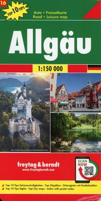 Allgäu, Autokarte 1:150.000, Top 10 Tips