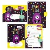 12 Monster Einladungskarten zum Geburtstag oder Party für Jungen und Mädchen inkl. Umschläge