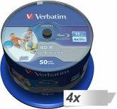 4x50 Verbatim BD-R Blu-Ray 25GB 6x Speed DL Wide Printable CB
