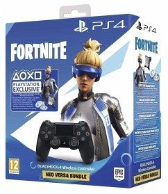 Sony DUALSHOCK 4 Wireless Controller v2, Gamepad schwarz, inkl. Fortnite Epic Neo Versa Outfit + Epic Neo Phrenzy Back Bling + 500 V-Bucks