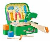 Selecta 62074 - Werkzeugkoffer, Stabile Werkzeuge aus Holz, 25x18 cm