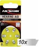 10x6 Ansmann Zinc-Air 10 (PR70) Hörgeräte Batterien