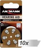 10x6 Ansmann Zinc-Air 312 (PR41) Hörgeräte Batterien