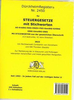 DürckheimRegister® STEUERGESETZE mit Stichworten (2020)