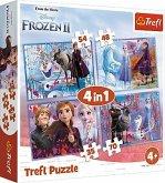 Trefl 34323 - Disney Die Eiskönigin 2 - Reise ins Unbekannte, 4in1 Puzzle