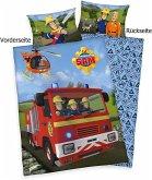 Herding 2470402063 - Feuerwehrmann Sam, Wende-Bettwäsche mit Reißverschluss, Baumwolle, Kopfkissenbezug 40x60 cm, Bettbezug 100x135 cm