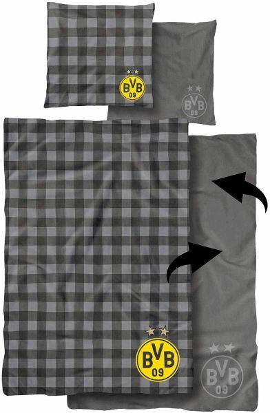 Borussia Dortmund BVB-Bettwäsche mit Streifenmuster 135 x 200 cm