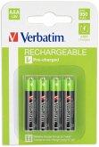 1x4 Verbatim Rechargeable Accu Micron AAA 1000 mAH 49942
