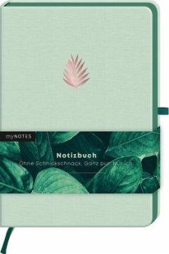 myNOTES Notizbuch Classics Blatt grün - Notizbuch im Mediumformat für Träume, Pläne und Ideen