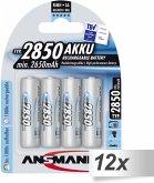12x4 Ansmann NiMH Akku 2850 Mignon AA 2650 mAh
