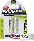12x2 Ansmann maxE NiMH Akku Mignon AA 800 mAh DECT Phone