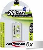 6x1 Ansmann maxE NiMH Akku 9V-Block 200 mAh 5035342