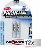 12x2 Ansmann maxE NiMH Akku Micro AAA 800 mAh DECT PHONE