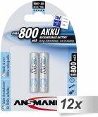 12x2 Ansmann maxE NiMH Akku Micro AAA 800 mAh