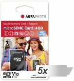 5x1 AgfaPhoto MicroSDHC UHS-I 4GB High Speed Class 10 U1 Adap.