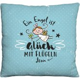 Happy Life 46148 Plüschkissen Schutzengel, Deko-Kissen mit Engel-Motiv, Hellblau