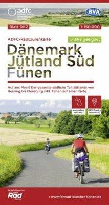 ADFC-Radtourenkarte Dänemark/Jütland Süd/ Fünen, 1:150.000, reiß- und wetterfest, GPS-Tracks Download, E-Bike geeignet