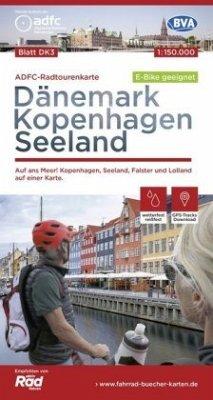 ADFC-Radtourenkarte Dänemark/Kopenhagen/Seeland 1:150.000 reiß- und wetterfest, GPS-Tracks Download, E-Bike geeignet