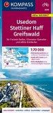 KOMPASS Fahrradkarte Usedom, Stettiner Haff, Greifswald 1:70.000, FK 3349