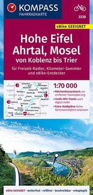 KOMPASS Fahrradkarte Hohe Eifel, Ahrtal, Mosel, von Koblenz bis Trier 1:70.000, FK 3338