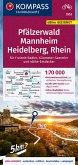 KOMPASS Fahrradkarte Pfälzerwald, Mannheim, Heidelberg, Rhein 1:70.000, FK 3352
